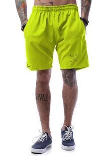 Bermuda Tactel Neon Cellos Cross Arrows Premium - Masculino-Verde Limão