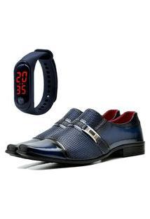 Sapato Social Elegant Com E Sem Verniz Com Relógio Led Fine Dubuy 814La Azul