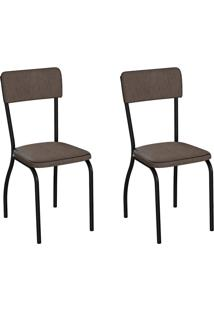 Conjunto Com 2 Cadeiras Nowra Marrom E Preto