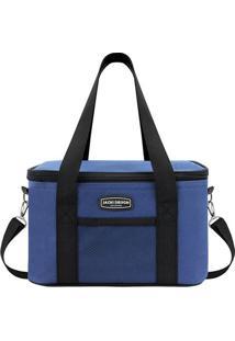 Bolsa Térmica Com Bolso- Azul & Preta- 28X17X18Cm