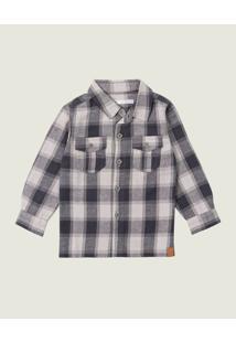 Camisa Xadrez Flanela Menino Malwee Kids Cinza Escuro - 1