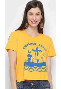 Camiseta Cantão Baby Look Crushes Land Feminina - Feminino-Amarelo