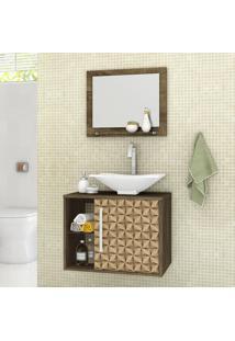 Armário De Banheiro Baden Madeira Rústica/Madeira 3D - Bechara Móveis