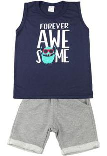 Conjunto Infantil Menino Meia Malha E Moletom Fleece Forever Awesome - Marinho 1