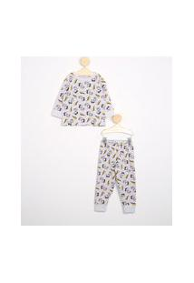 Pijama Infantil Estampado De Snoopy Manga Longa Cinza Mescla