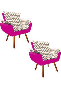 Kit 02 Poltrona Decorativa Opala Suede Composê Estampado Zig Zag Bege D81 E Suede Pink - D'Rossi