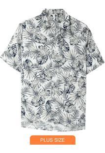Camisa Branco Tradicional Folhagem Plus