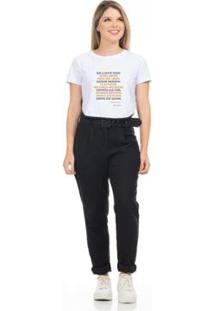 Camiseta Cropped Clara Arruda Viés Estampada 18020022 Feminina - Feminino-Branco