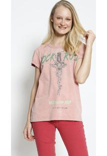 "Camiseta ""Rock Roll""- Rosa & Verde- Colccicolcci"