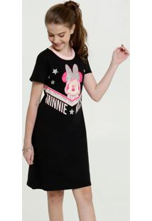 Vestido Juvenil Estampa Minnie Manga Curta Disney