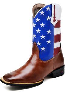 Bota Texana Fak Boots Cano Longo Bordado Usa Whisky