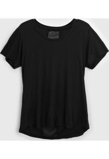Camiseta Alto Giro Recorte Tela Preta