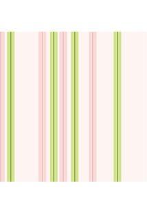 Papel De Parede Adesivo Listrado Rosa E Verde (0,58M X 2,50M)