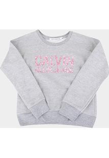 Moletom Infantil Calvin Klein Básico Feminino - Feminino-Mescla