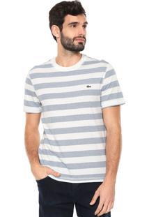 dd3baf5f507 Camiseta Lacoste Reta Listras Off-White Azul