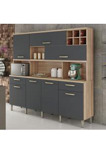 Cozinha Compacta Master 7 Pt 2 Gv Cedro E Grafite