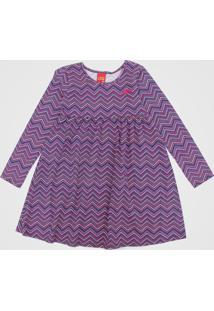 Vestido Kyly Infantil Geométrico Azul-Marinho/Rosa - Tricae