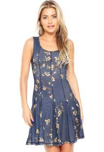 Vestido Lança Perfume Curto Evasê Azul
