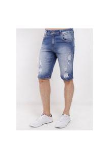 Bermuda Jeans Destroyed Masculina Azul