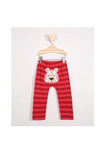 Calça Infantil Listrada Tigre Vermelho
