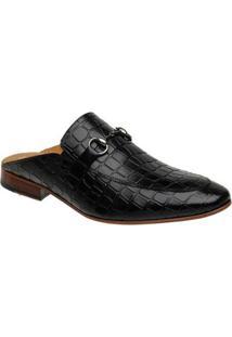 Sapato Mule Masculino Slipper Malbork Couro Croco Preto 5849 - Masculino