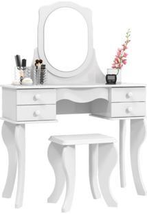 Penteadeira Princesa Com Espelho Branca