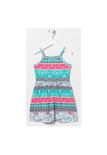 Vestido Infantil Alcinha Estampado Com Detalhes E Recortes - Tam 5 A 14 | Fuzarka (5 A 14 Anos) | Azul | 11-12
