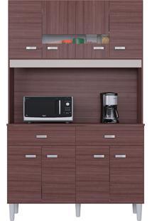 Cozinha Compacta Flex Com 8 Portas E 2 Gavetas Manu – Poquema - Capuccino / Offwhite / Amarelo