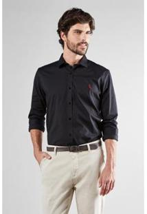 Camisa Reserva Enxuto Elastano Masculina - Masculino-Preto