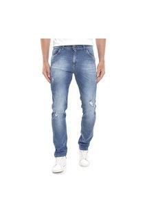 Calça Jeans Dialogo Slim Fit Lavagem Vintage Com Puídos