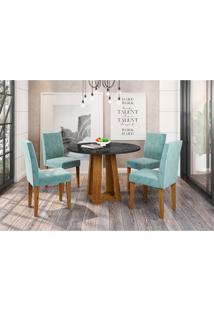 Conjunto De Mesa De Jantar Com Tampo De Vidro Isabela E 4 Cadeiras Giovana Animalle Nero E Azul