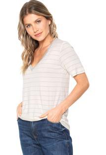Camiseta Lez A Lez Delicate Stripe Off-White/Prata