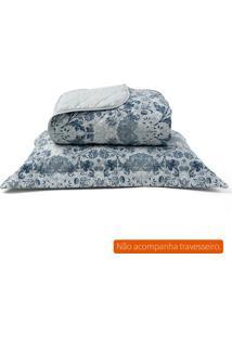 Kit De Cobre Leito E Porta Travesseiro Casal Percal Azul