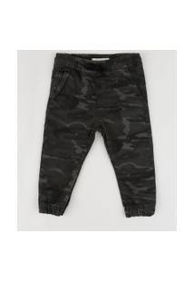 Calça De Sarja Infantil Jogger Estampada Camuflada Cinza Escuro