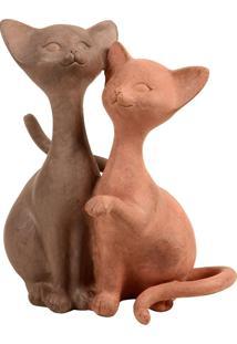 Escultura Decorativa De Resina Casal Felino
