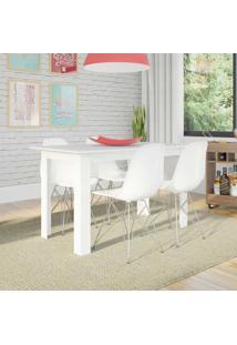Conjunto De Mesa Cogma Com 4 Cadeiras Eames Base Metal Branco