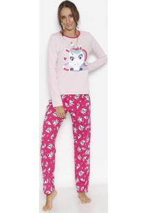 Pijama Unicórnio Com Arco-Íris- Rosa Claro & Verde Água