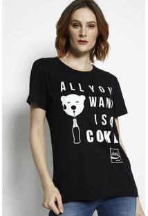 "Camiseta ""All You Want Is A Cokeâ®""- Preta & Off White"