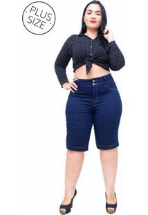 Bermuda Jeans Cambos Plus Size Ciclista Zenilza Azul