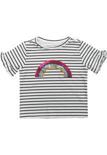 Camiseta Fun Friends Kids Menina Arco-Íris Preto