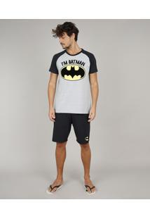 Pijama Masculino Tal Pai Tal Filho Batman Raglan Manga Curta Cinza Mescla