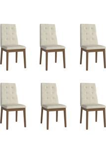 Conjunto Com 6 Cadeiras De Jantar Joy Bege