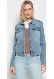 Jaqueta Jeans Com Bolsos- Azulenna