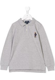 Ralph Lauren Kids Camisa Polo Mangas Longas - Cinza