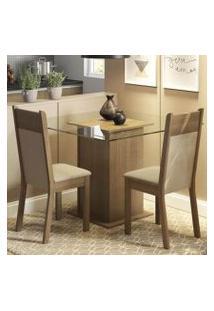 Conjunto Sala De Jantar Madesa Lau Mesa Tampo De Vidro Com 2 Cadeiras Rustic/Crema/Pérola