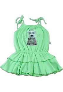 Vestido Infantil Malha Botonê Rustic Fresh Neon Cachorrinho - Verde 3