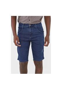Bermuda Jeans Biotipo Reta Desgastes Azul-Marinho