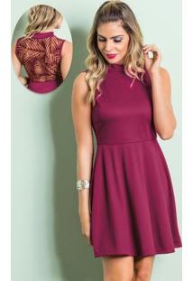 Vestido Purpura Com Gola Rolê E Costas Em Devorê