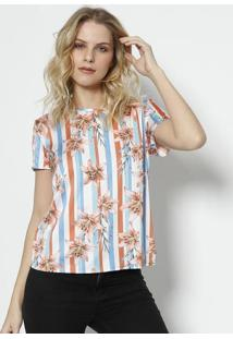Camiseta Com Recorte Acetinado - Branca   Laranja - Gris df85889974
