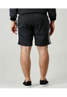 Bermuda Masculina Plus Size Bolsos - Masculino-Preto